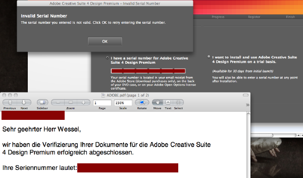Problem with the registration of Adobe Creative Suite 4 Design Premium Student Edition