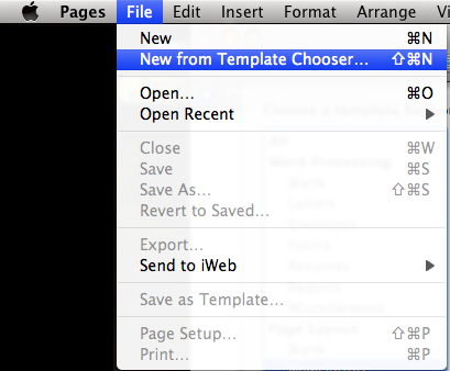 Apple Pages - New from Template Chooser