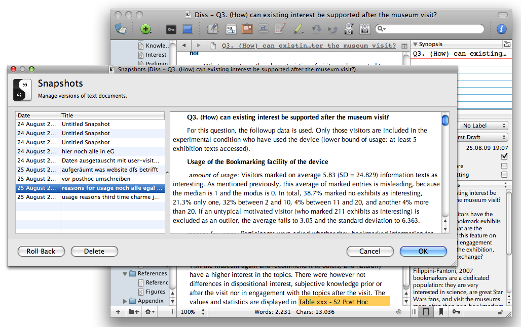 Writing dissertation with scrivener