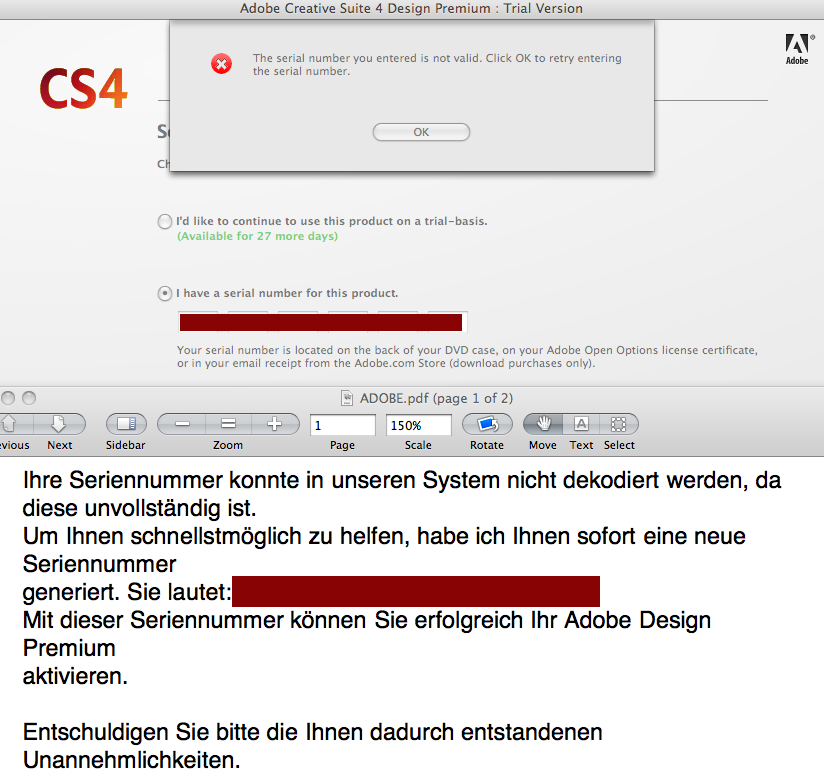 adobe cs2 serial number missing or invalid