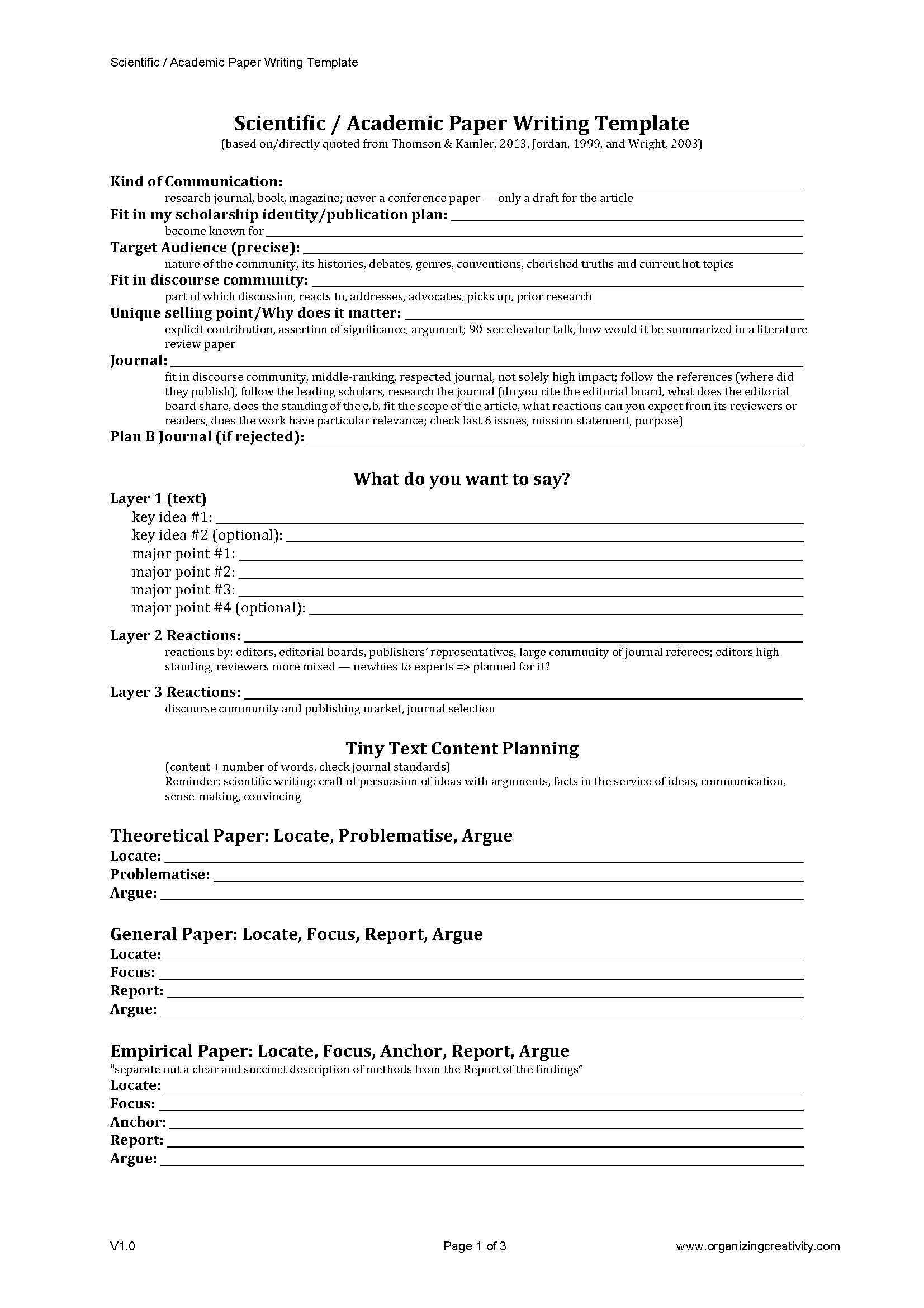 Scientific / Academic Paper Writing Template | ORGANIZING CREATIVITY